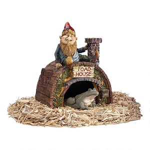 Garden Gnome's Toad House Statue 11.5