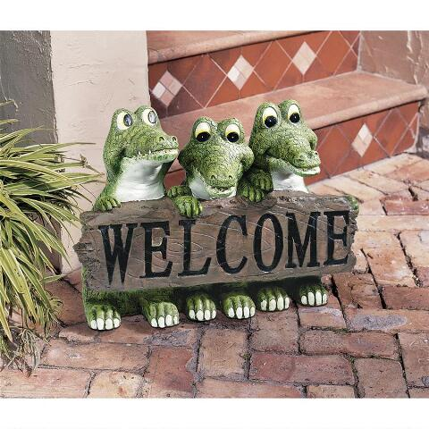 Cajun Crocodile Welcome Statue Alligator