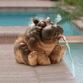 Hippo Spitter Piped Statue