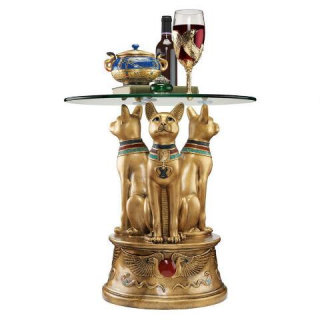 Royal Golden Bastet Cats Egyptian Side Table