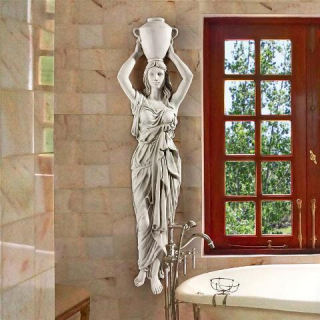 Greek Water Goddess Wall Caryatid Statue