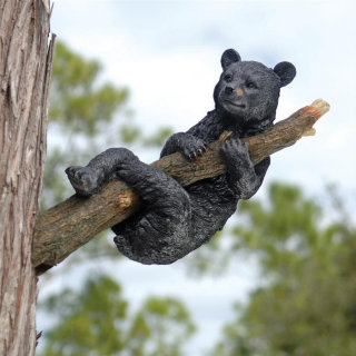 Up A Tree Hanging Black Bear Cub Statue