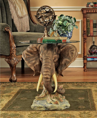 Houghton's Trophy Elephant Glass Table