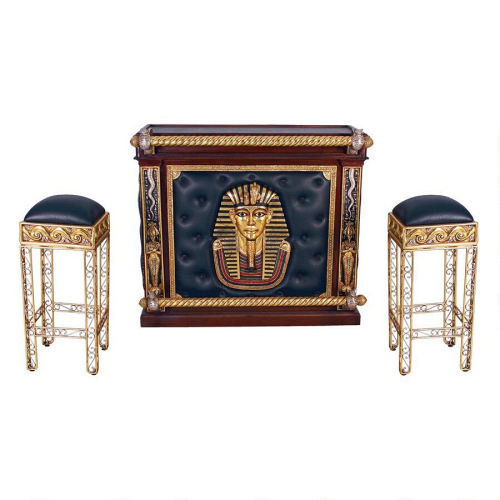 Egyptian Themed Bar with Two Barstools