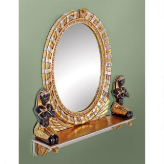 King Amenhotep Egyptian Vanity Mirror Sculpture