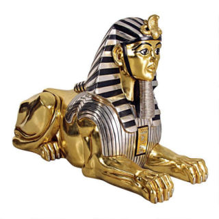 Giant Gilded Egyptian Sphinx Statue