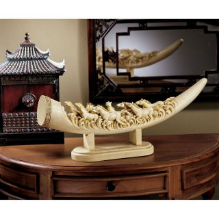 Galloping Horse Oliphant Tusk Sculpture