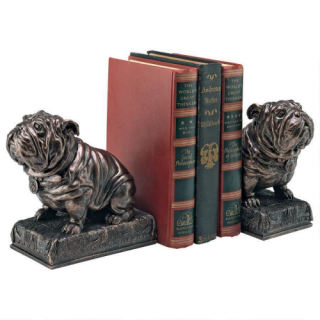 Bulldog Mascot Bookends Statues