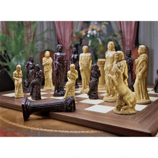 Gods Of Greek Mythology Chess Set Statues with Board
