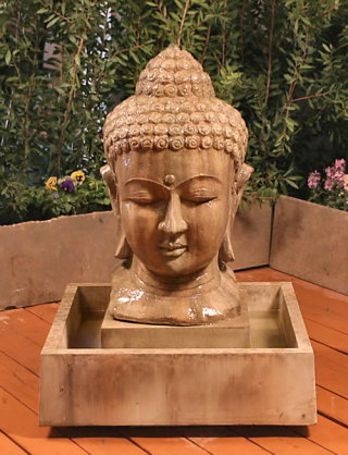 Buddha Head Fountain Asian Garden Decor