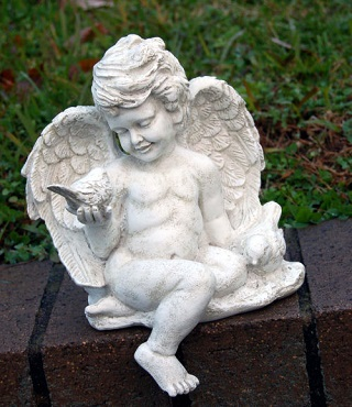 Cherub Sitting With Dove Sculpture
