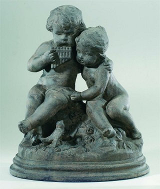 Flute Playing Children Sculpture of the Victorian Period