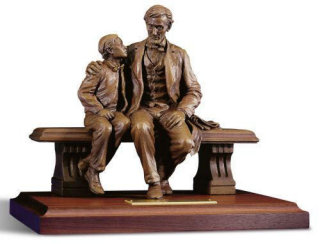 Lincoln and Tad Sculpture by David Frech