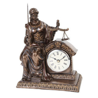 Blind Lady Justice Clock Sculpture