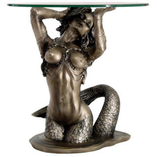 Mermaid Table Base Sculpture with Glass Top