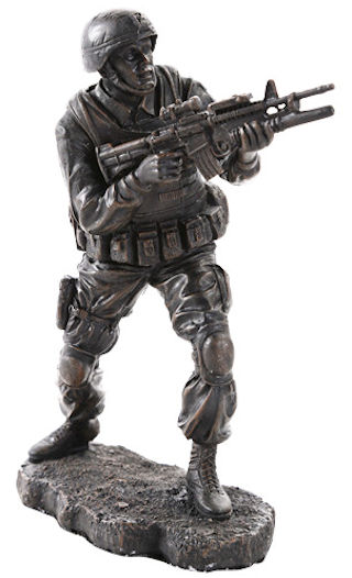Military Soldier in Combat Sculpture