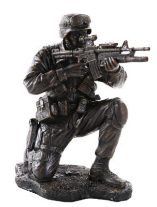 Military Soldier in Combat Statue