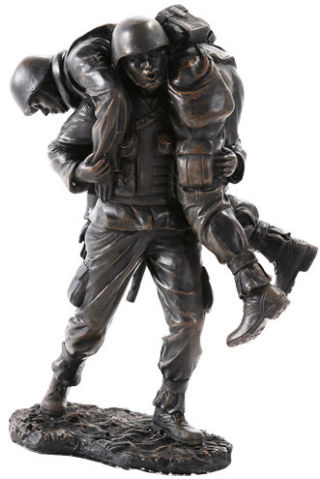 Wounded Warrior Military Soldiers Sculpture