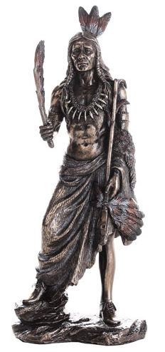 Indian Warrior with Peace Pipe Sculpture