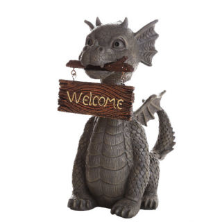 Garden Dragon with Welcome Sign Statue