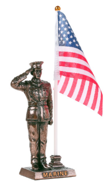 Marine in Salute with American Flag Statue