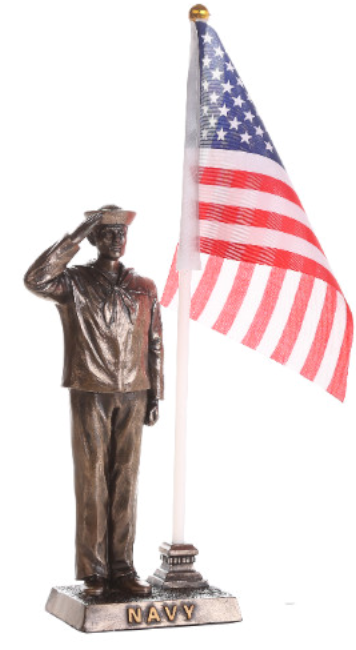 Navy Soldier Salute with American Flag Statue