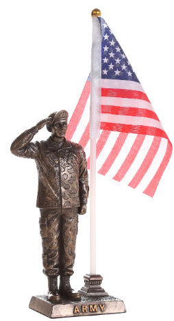 Army Soldier Salute with American Flag Statue