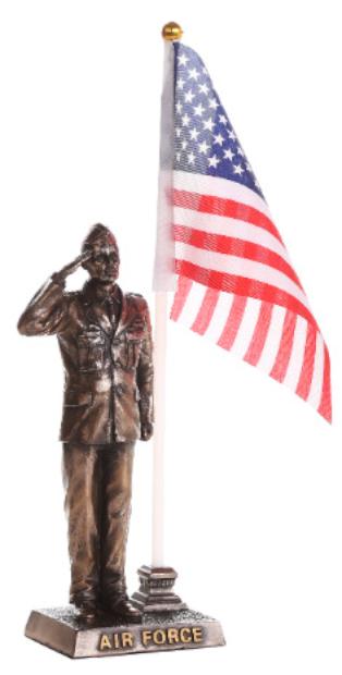Air Force Soldier Salute American Flag Statue