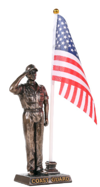 Coast Guard Soldier Salute Flag Statue