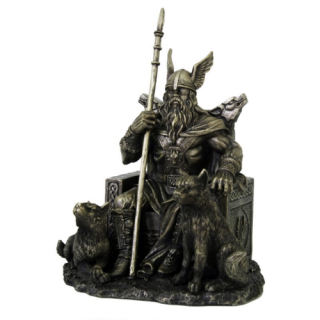 Odin Viking Statue on Throne with Wolves