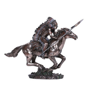 Native Indian Warrior on Horse Sculpture