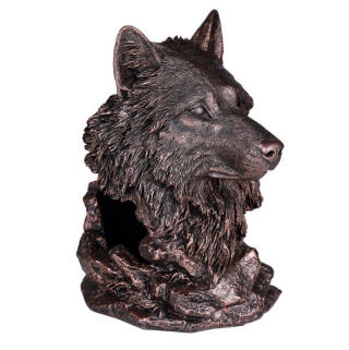 Wolf Head Wine Bottle Holder Sculpture