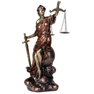 Lady Justice Statue Sitting on Globe