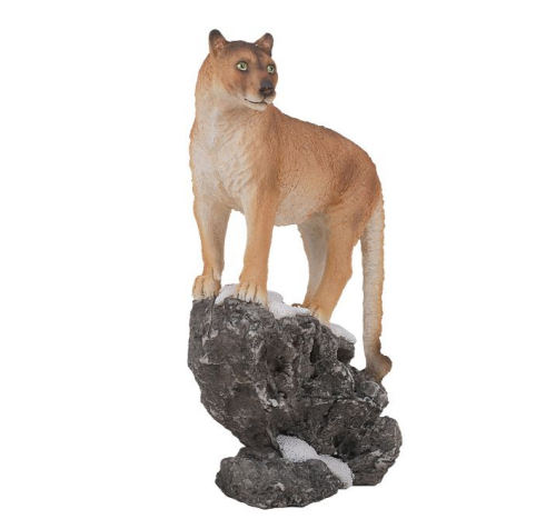 Cougar on Snow Drift Cliff Figurine Statue