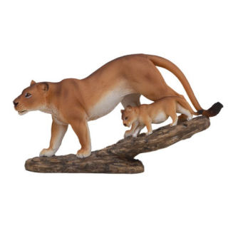 Lioness with Cub on Tree Branch Figurine