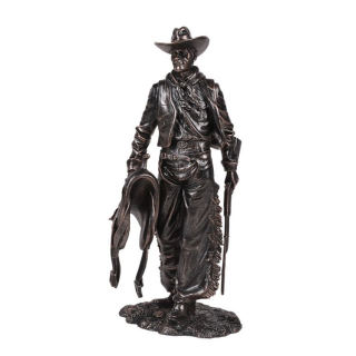 Cowboy Statue with Rifle and Saddle