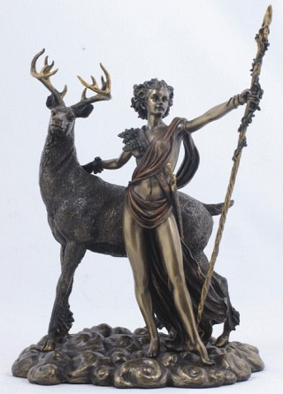 Moon Diana with Stag Sculpture