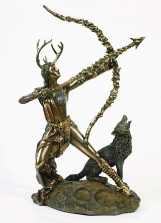 Artemis The Huntress Statue Bronze Finish