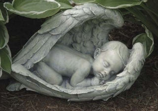 Sleeping Baby In Wings Statue