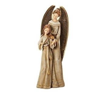 Angel With Child Playing Violin Sculpture