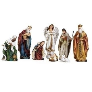Nativity Set of Eight Sculptures Hand Painted
