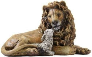 Lion and Lamb Hand Painted Statue