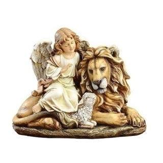 Angel With Lion and Lamb Statue