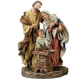 Holy Family Statue Jesus as Carpenter in Workshop