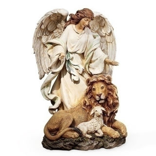 Angel With Lion & Lamb Sculpture