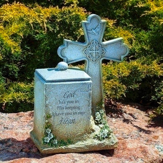 Memorial Box with Cross Statue Inspirational