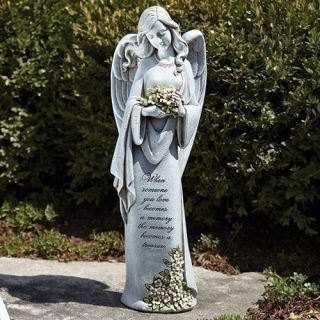 A Memorial Angel With Verse Statue