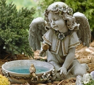 Angel Seated with Solar Light Bird Bath Sculpture