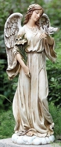 Angel with Dove Garden Statue