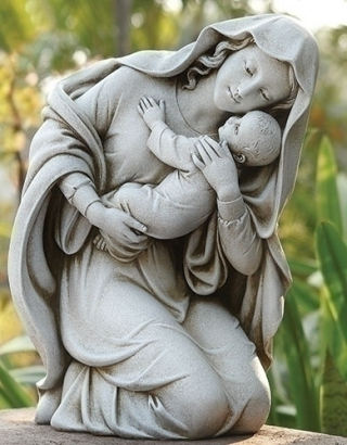 Kneeling Mary with Child Garden Sculpture
